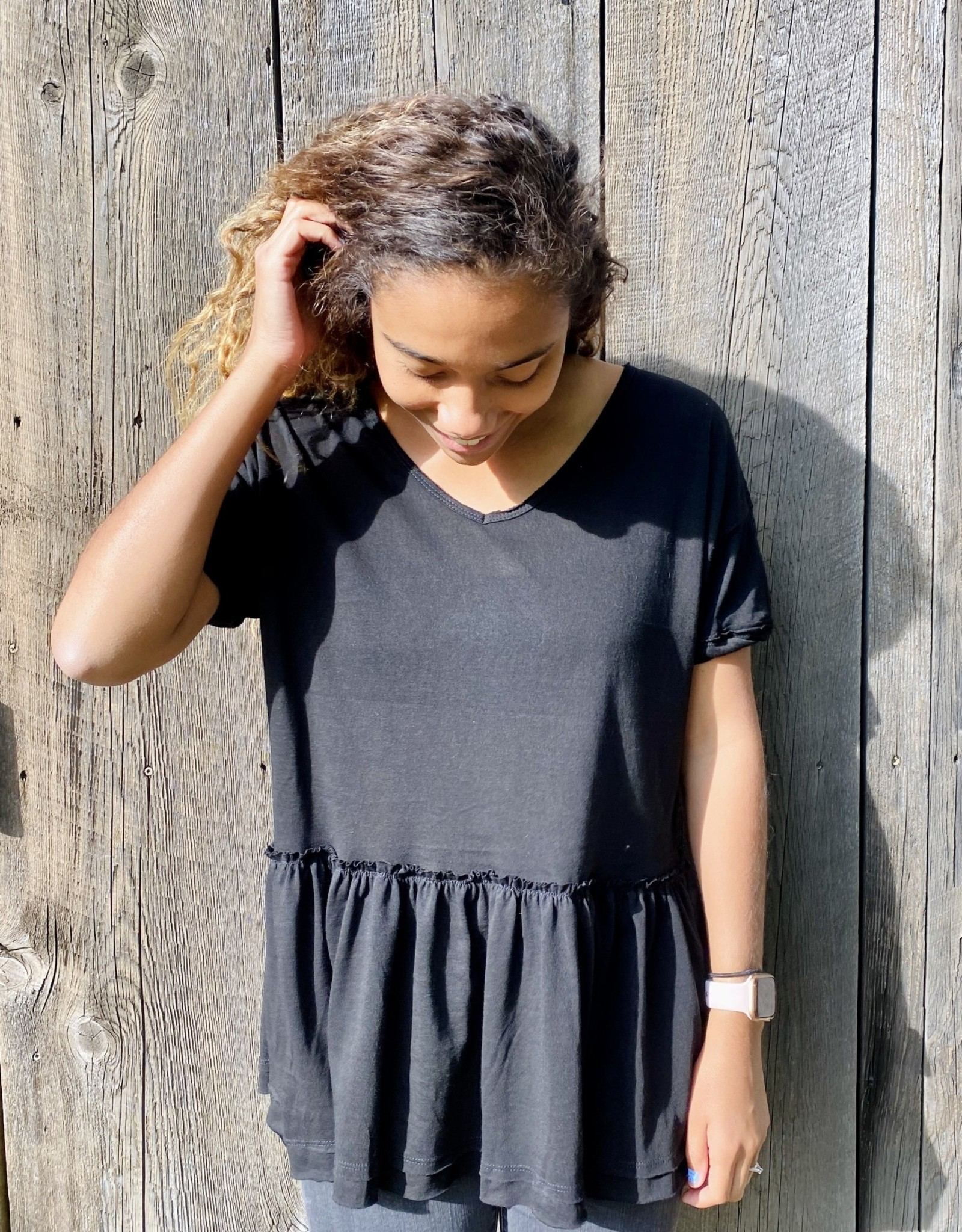 Halo Black Ruffle Top