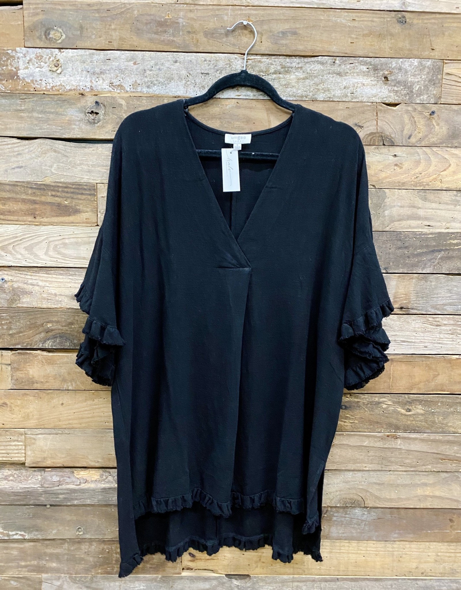 Halo Black V-Neck Ruffle