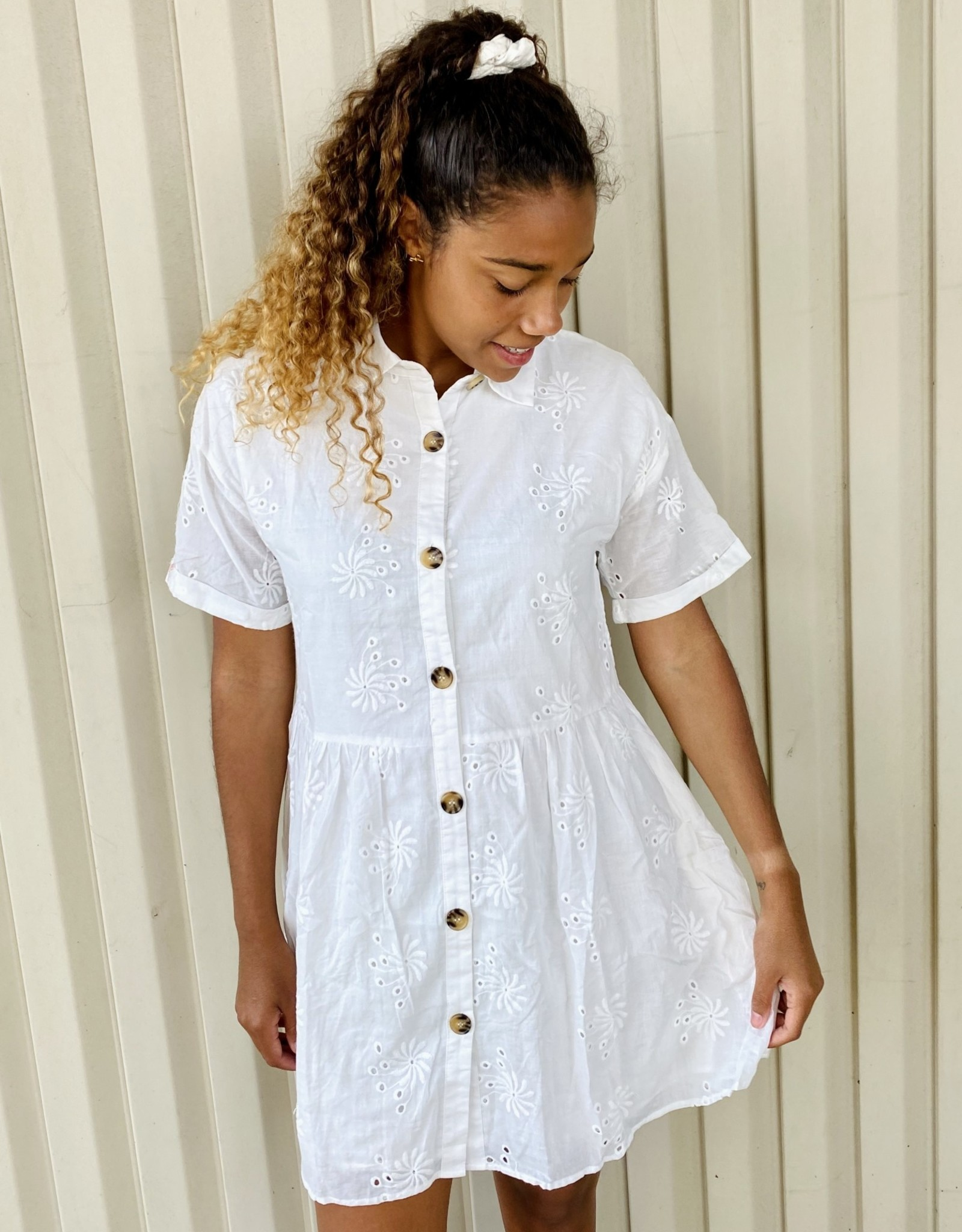 Halo Ivory Button Dress