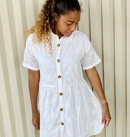Halo Ivory Button Dress