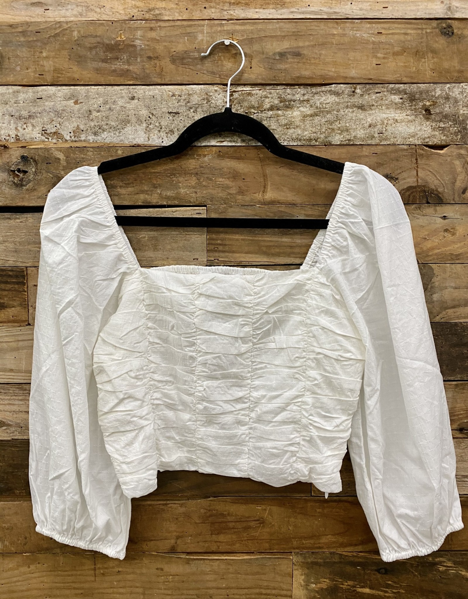 Halo Ruched White Top