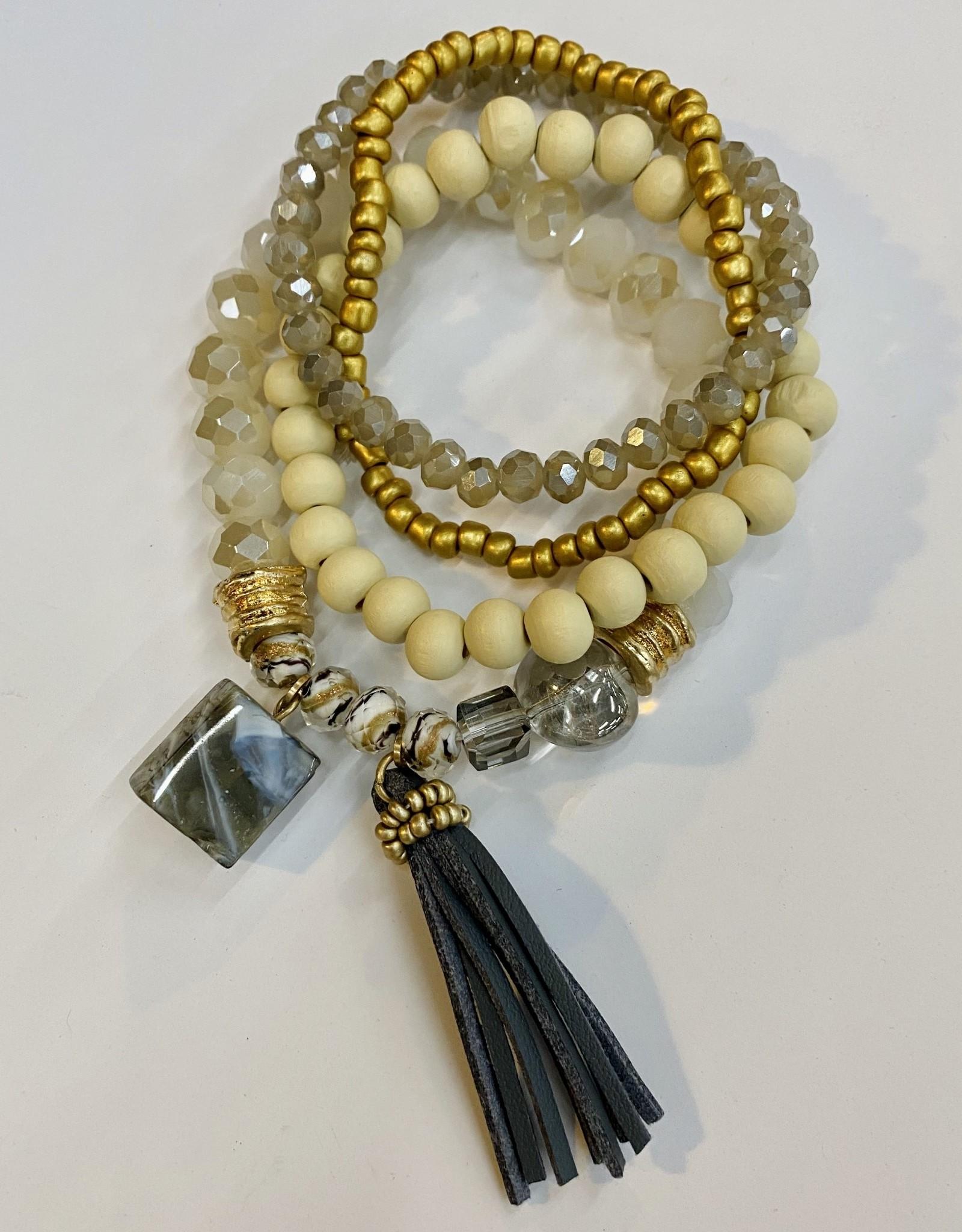 Halo Grey Beaded Bracelet Set