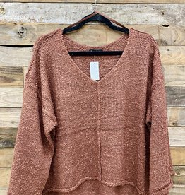 Halo Crimson Raw Hem Sweater