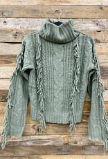 Halo Olive Fringe Sweater