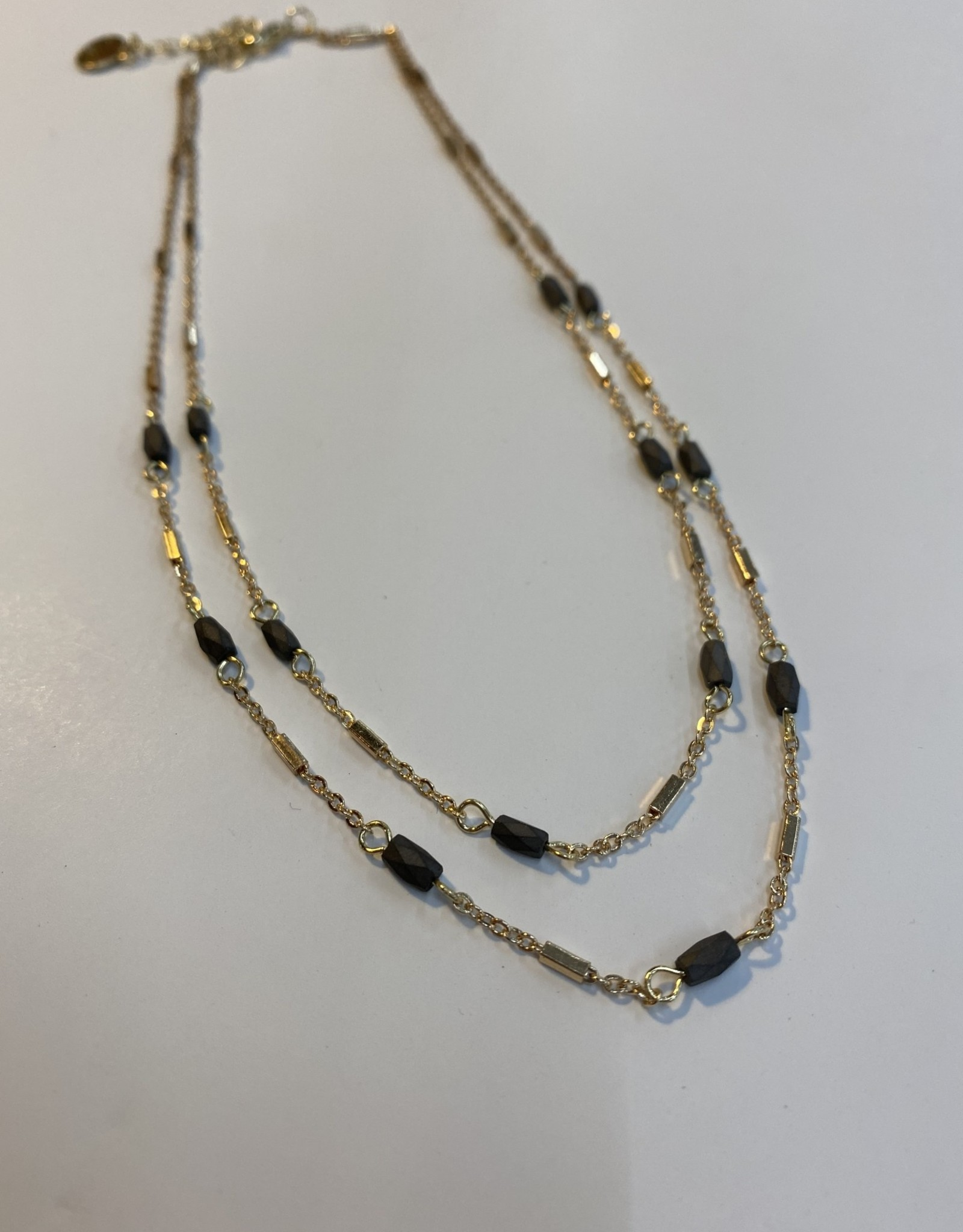 Halo Grey & Gold Necklace