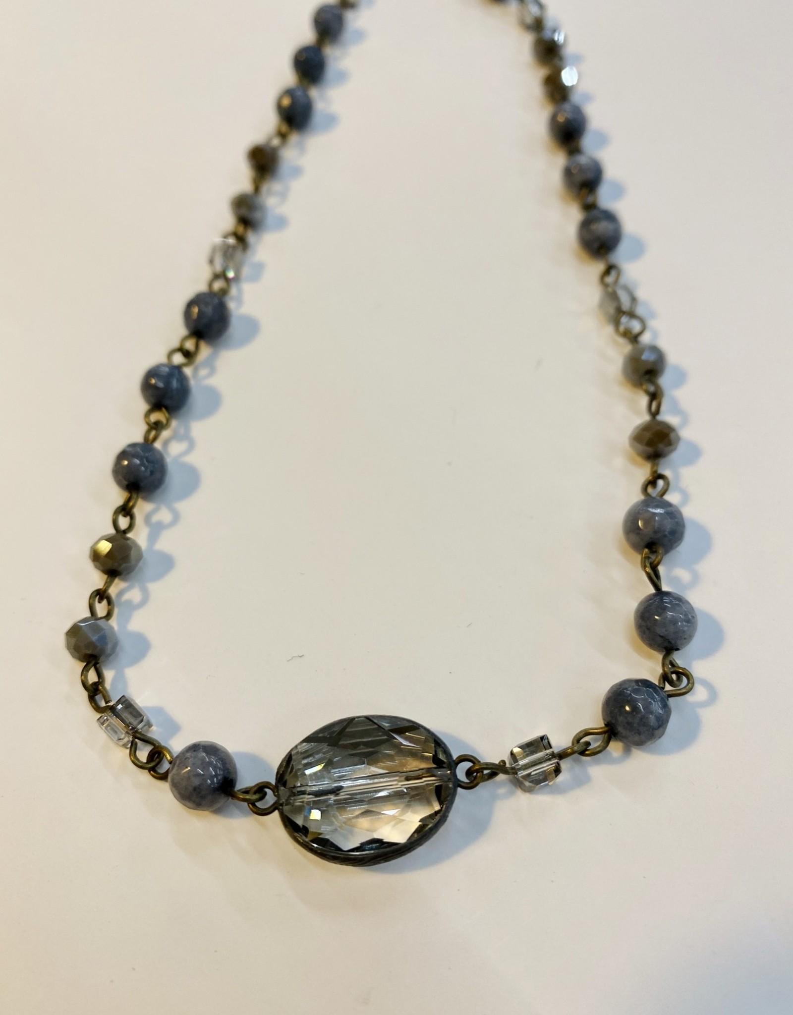 Halo Grey Beaded Necklace
