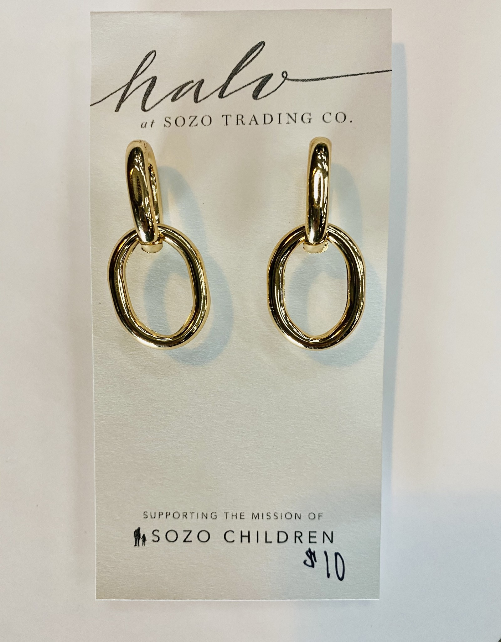 Halo Gold Chain Earring
