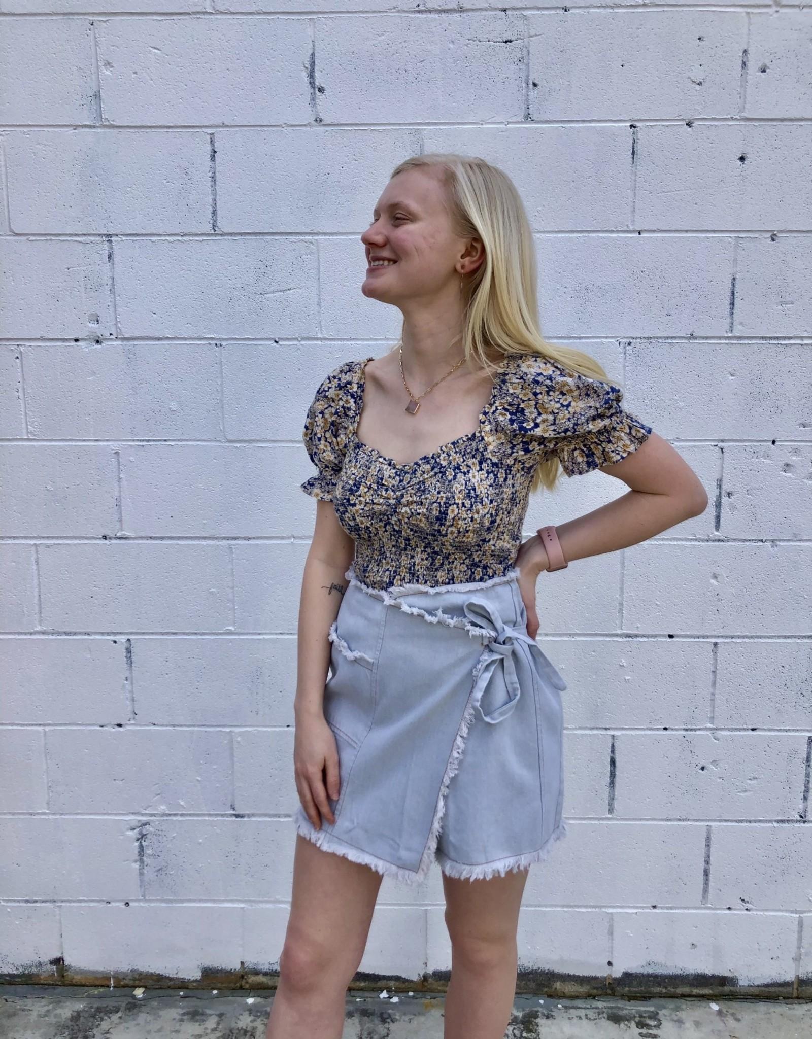 Halo Indigo Tie Skirt