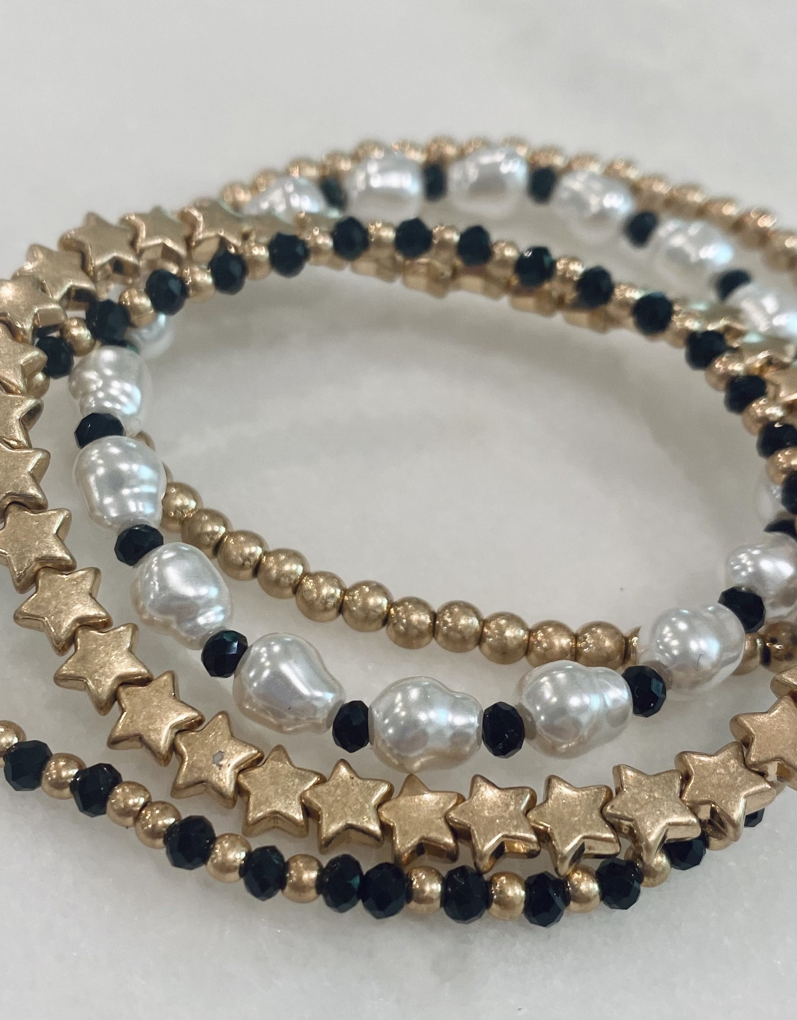 Halo Pearl Star Bracelet
