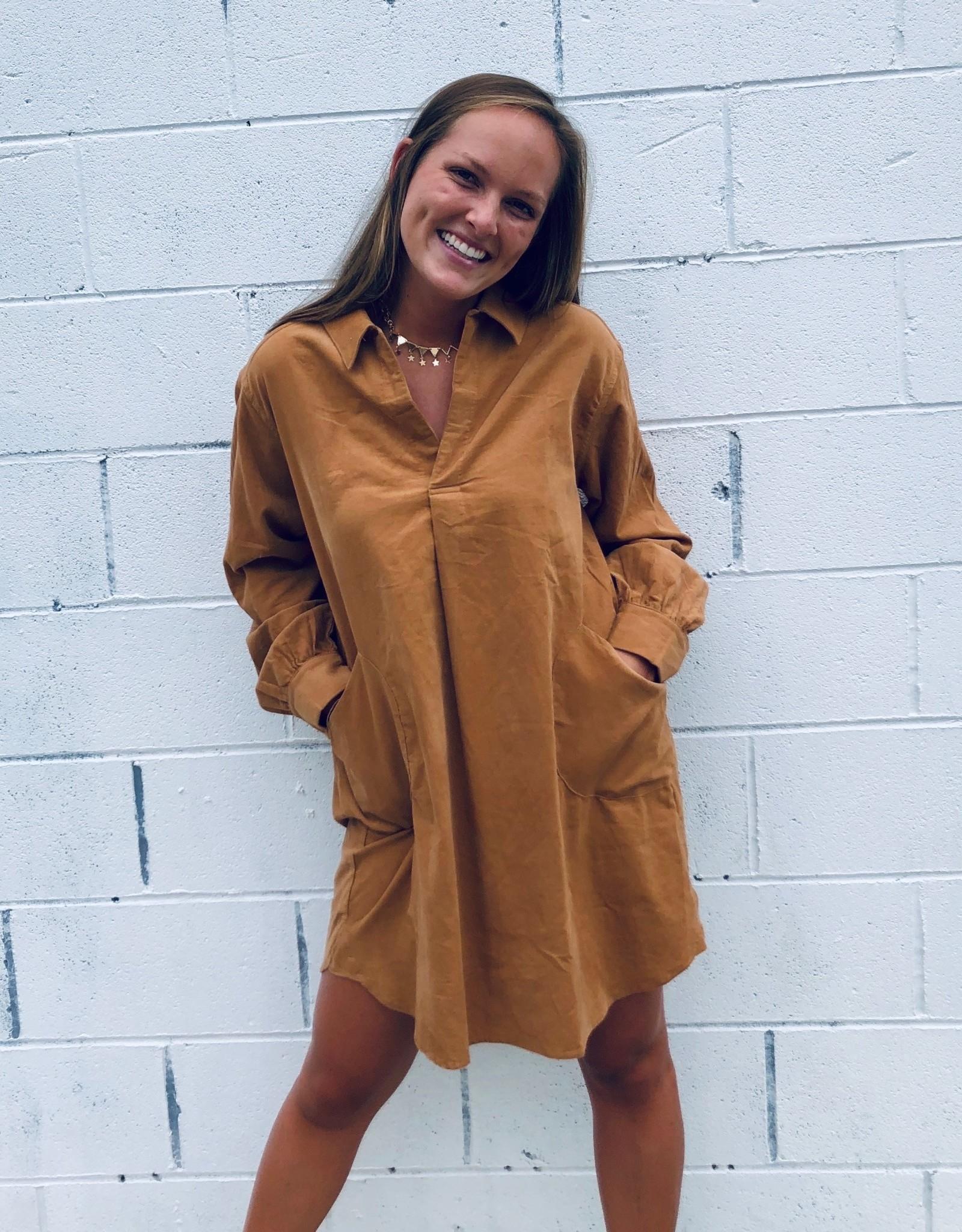 Halo Camel Cord Dress