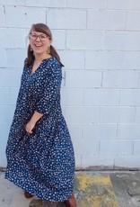 Halo Navy Chiffon Midi Dress
