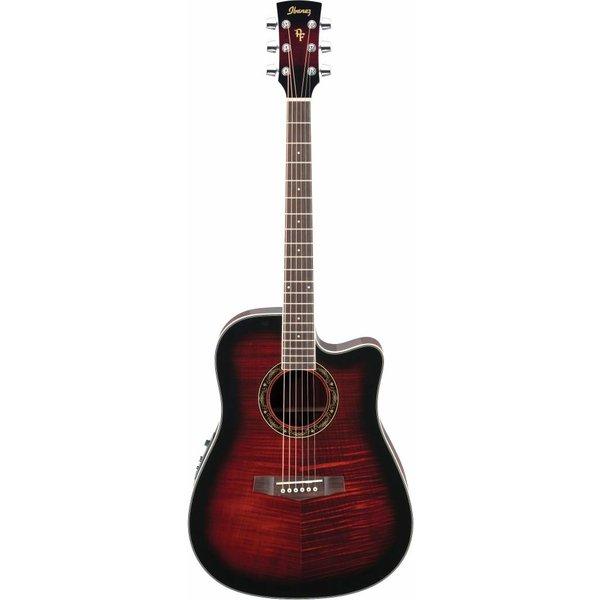 Ibanez Ibanez PF28ECETRS Performance Acoustic Electric Guitar Transparent Red Sunburst