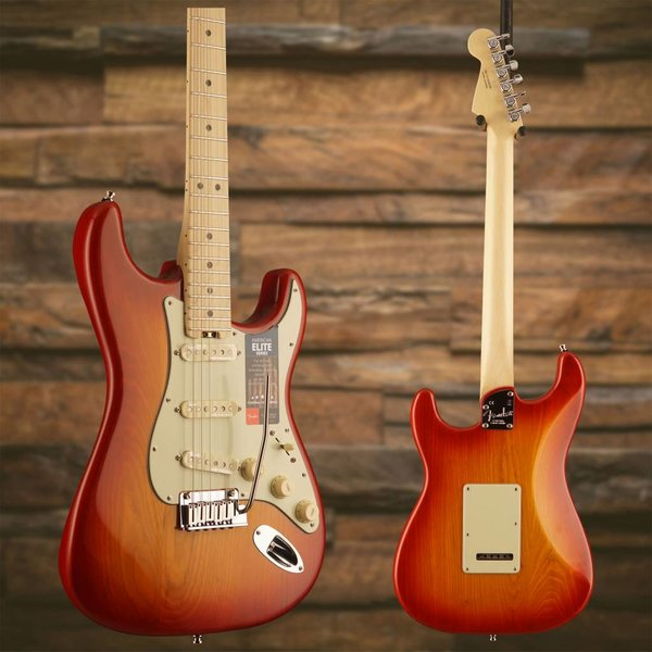 Fender American Elite Stratocaster, Maple Fingerboard, Aged Cherry Burst (Ash)