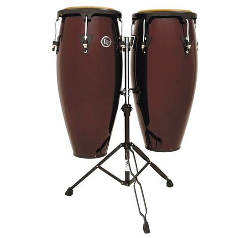 LP Aspire 10'' & 11'' Wood Conga Set w/ Double Stand Dark Wood