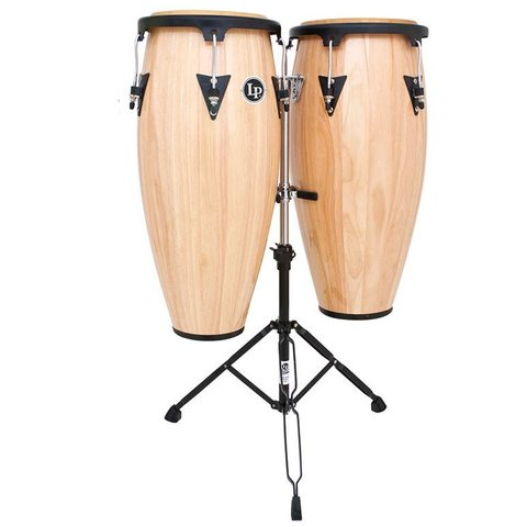 LP Aspire 11'' & 12'' Wood Conga Set w/ Double Stand Natural