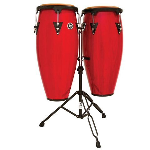 LP Aspire 10'' & 11'' Wood Conga Set w/ Double Stand Red Wood
