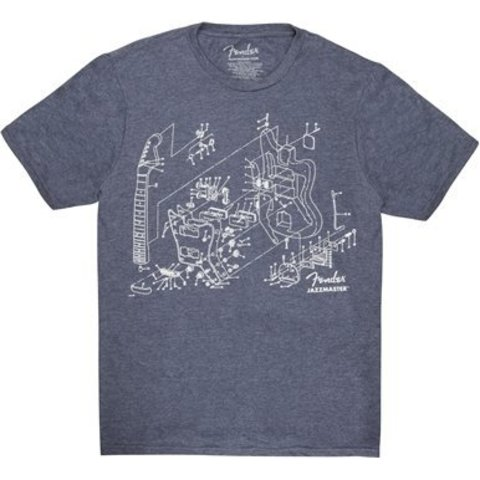 Fender Jazzmaster Patent Drawing T-Shirt, Blue, M