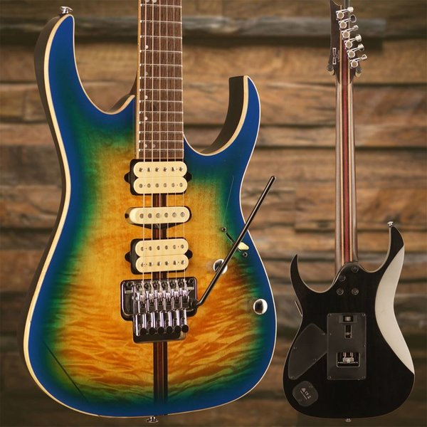 Ibanez Ibanez RG Premium 6str Electric Guitar w/Case Geyser Blue Burst S/N I171212632, 7lbs, 12.8oz