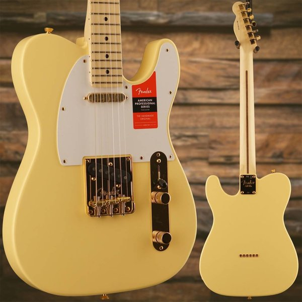 Fender Fender Limited Edition American Pro Telecaster, Maple Neck, Vintage White w/ Gold HW SN/US18001185
