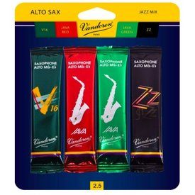 Vandoren Vandoren Alto Sax Jazz Reed Mix Card includes 1 each ZZ, V16, Java and Java Red Strength 2.5