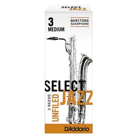 Rico Rico Select Jazz Baritone Sax Reeds, Unfiled, Strength 2 Strength Medium, 5-pack