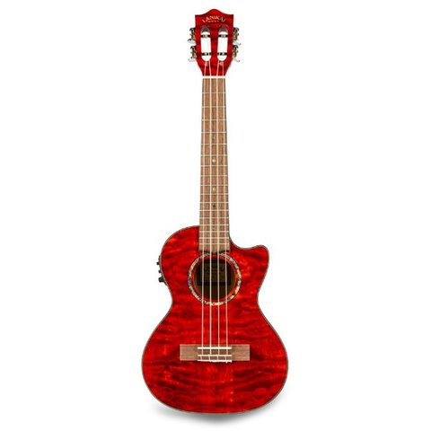 Lanikai Quilted Maple Red Stain Tenor with Kula Preamp A/E Ukulele