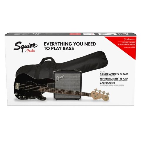 Squier Precision Bass PJ Pack Brown Sunburst w/ Gig Bag and Rumble 15
