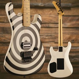 Charvel Kramer Baretta White w/ Black Bullseye, Floyd Rose & Case PARTS GUITAR ONLY