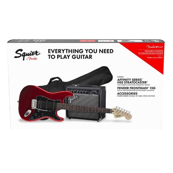 Squier Affinity Series Stratocaster HSS Pack, Candy Apple Red, 120V Fender Frontman 3-Mo Sub to Fender Play