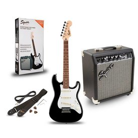 Squier Squier Stratocaster Pack SSS Black w/ Gig Bag and Frontman 10G