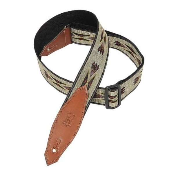 Levy's Leathers Levys 2'' Poly/Jac Weave Guitar Strap W Leather Ends Tri-glide,Tan