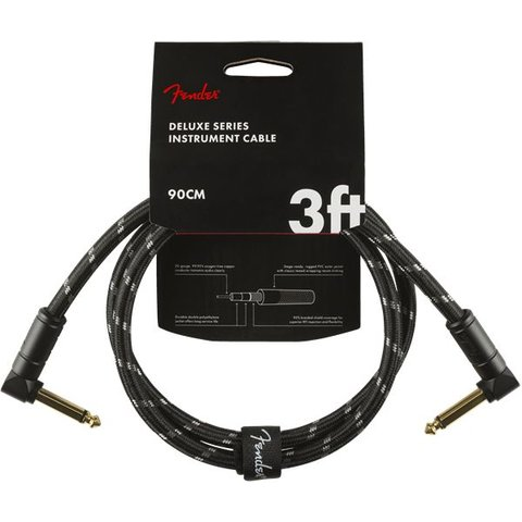Fender Deluxe Series Instrument Cable, Angle/Angle, 3', Black Tweed