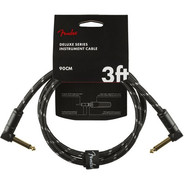 Fender Fender Deluxe Series Instrument Cable, Angle/Angle, 3', Black Tweed