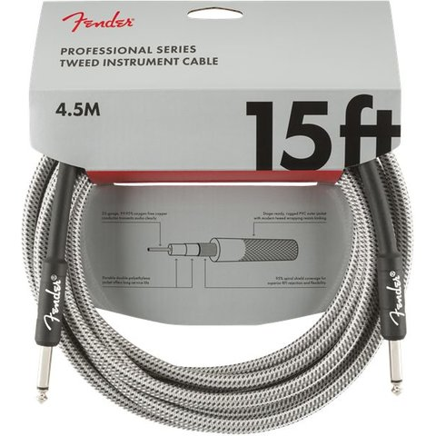 Fender Professional Series Instrument Cable, 15', White Tweed