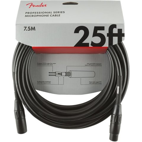 Fender Professional Series Microphone Cable, 25', Black