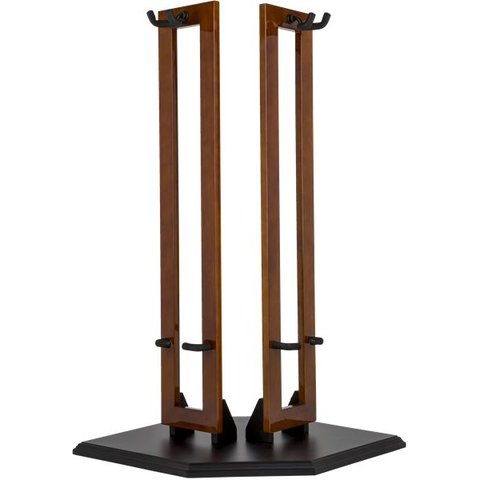 Fender Hanging Wood Double Guitar Stand, Cherry with Black Base