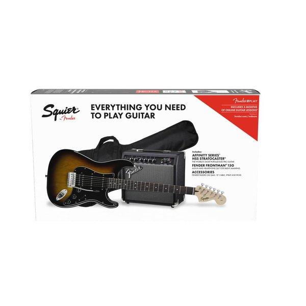Squier Fender Affinity Series Stratocaster HSS Pack, Laurel Fingerboard, Brown Sunburst, Gig Bag15G - 120V