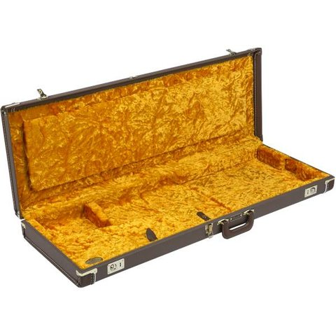 Fender G&G Deluxe Strat/Tele Hardshell Case, Brown with Gold Plush Interior