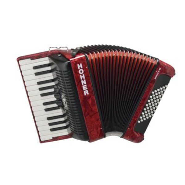 Hohner Hohner BR48B-N Bravo II Accordion 48 Pearl Red