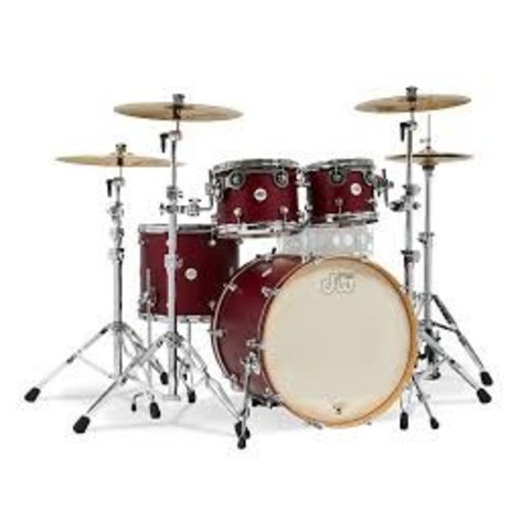 DW Drum Workshop Design Series 4 pc w/ 22'' Bass Drum Satin Deep Cherry