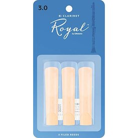 D'Addario Woodwinds (Previously Rico) Royal by D'Addario Bb Clarinet Reeds, Strength 3.0, 3-pack