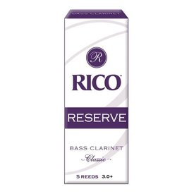 Rico Rico Reserve Classic Bass Clarinet Reeds, Box of 5 Strength 3+