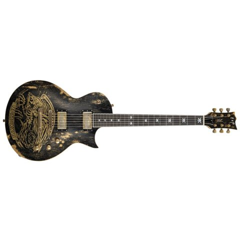 ESP Will Adler Warbird Distressed Signature Series Black Electric Guitar
