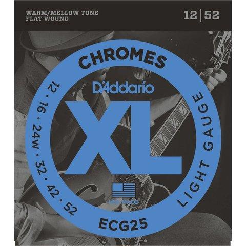 D'Addario ECG24-7 Chromes Flat Wound 7-String Electric Strings Jazz Light, 11-65
