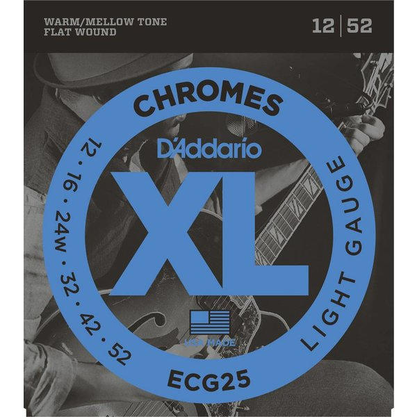 D'Addario D'Addario ECG24-7 Chromes Flat Wound 7-String Electric Strings Jazz Light, 11-65