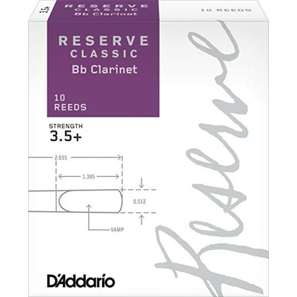 Rico D'Addario Reserve Classic Bb Clarinet Reeds, Box of 10 Strength 3.5+