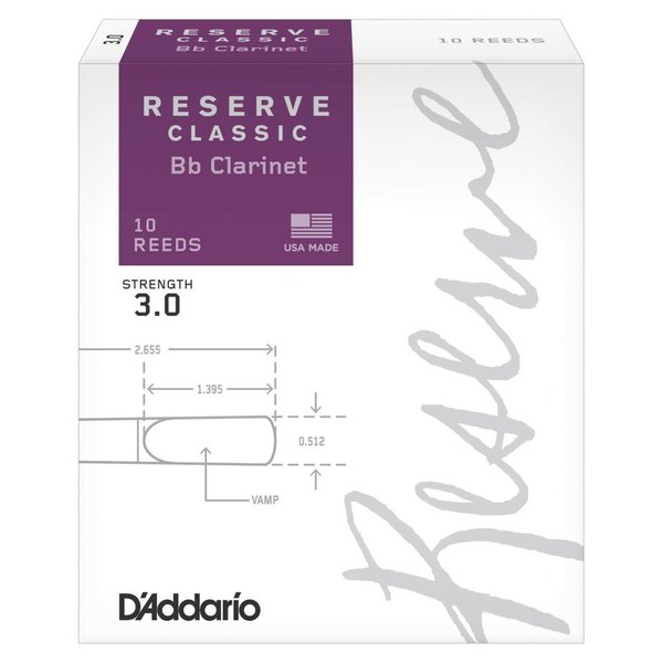D'Addario Woodwinds (Previously Rico) D'Addario Reserve Classic Bb Clarinet Reeds, Strength 3.0, 10-pack