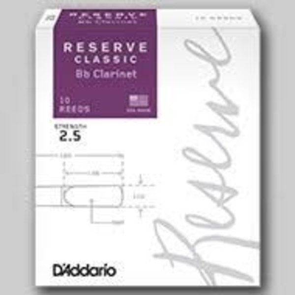 D'Addario Woodwinds (Previously Rico) D'Addario Reserve Classic Bb Clarinet Reeds, Strength 2.5, 10-pack