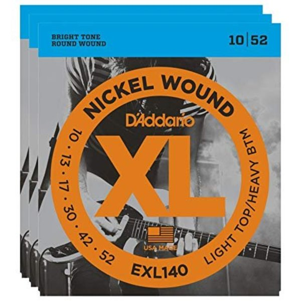 D'Addario D'Addario EXL140 Nickel Wound Electric Guitar Strings, Light Top/Heavy Bottom, 10-52 3 Sets
