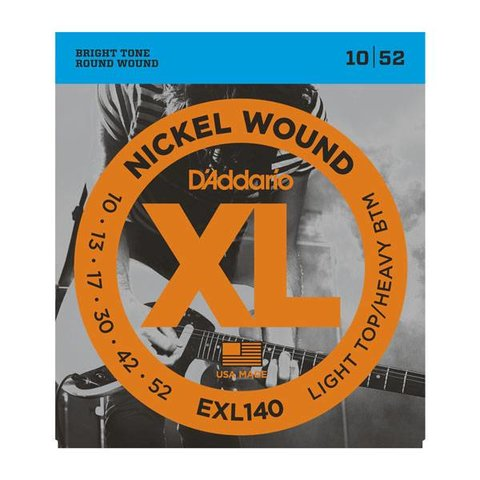 D'Addario EXL140 Nickel Wound Electric Guitar Strings, Light Top/Heavy Bottom, 10-52 10 Sets